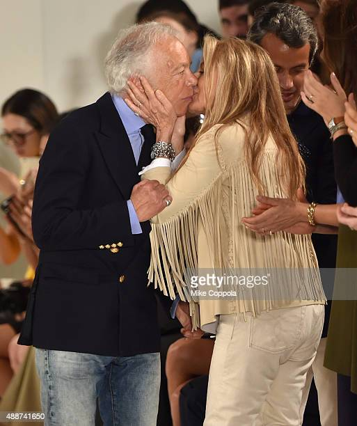 Designer Ralph Lauren greets Ricky Anne LoewBeer at Ralph Lauren Spring 2016 during New York Fashion Week The Shows at Skylight Clarkson Sq on...