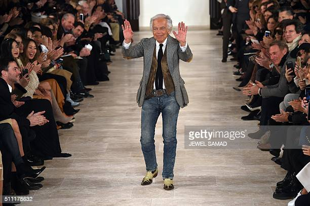 Designer Ralph Lauren greets the audience after presenting his creations during the Fall 2016 New York Fashion Week on February 18 in New York / AFP...