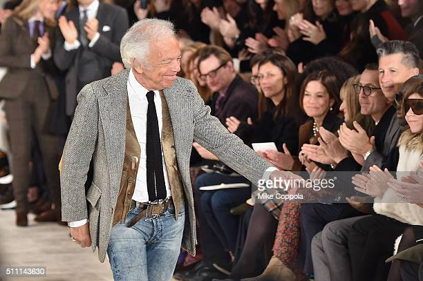 Designer Ralph Lauren greets the audience at the finale of the Ralph Lauren Fall 2016 fashion show during New York Fashion Week: The Shows at...