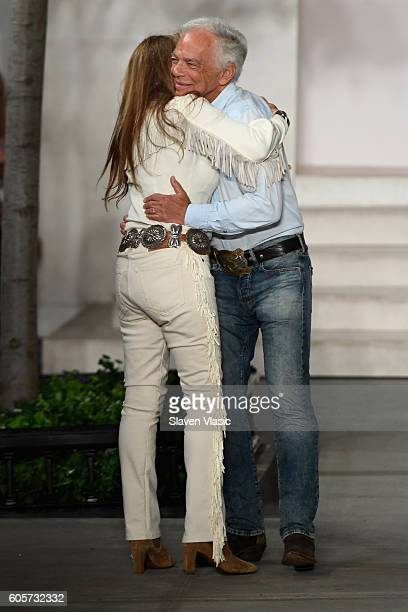 Designer Ralph Lauren hugs his wife Ricky Lauren after the finale of the runway at the Ralph Lauren fashion show during New York Fashion Week The...