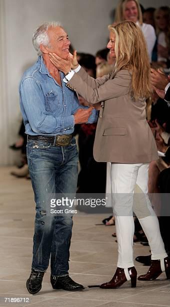 Designer Ralph Lauren hugs wife Ricky Lauren as he walks the runway at the Ralph Lauren Spring 2007 fashion show during Olympus Fashion Week at...