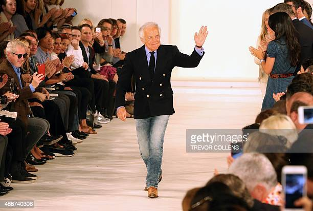 Designer Ralph Lauren is applauded by the audience after his presentation at New York Fashion Week in New York on September 17 2015 AFP PHOTO/TREVOR...