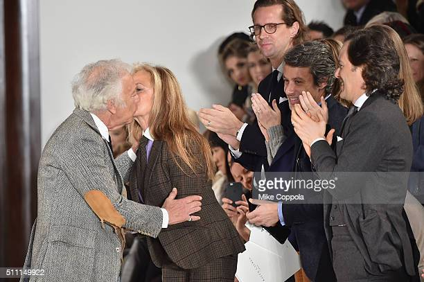 Designer Ralph Lauren kisses wife Ricky Lauren after the Ralph Lauren Fall 2016 fashion show during New York Fashion Week The Shows at Skylight...