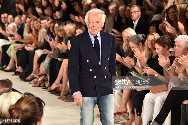 Designer Ralph Lauren poses on the runway at Ralph Lauren Spring 2016 during New York Fashion Week: The Shows at Skylight Clarkson Sq on September...