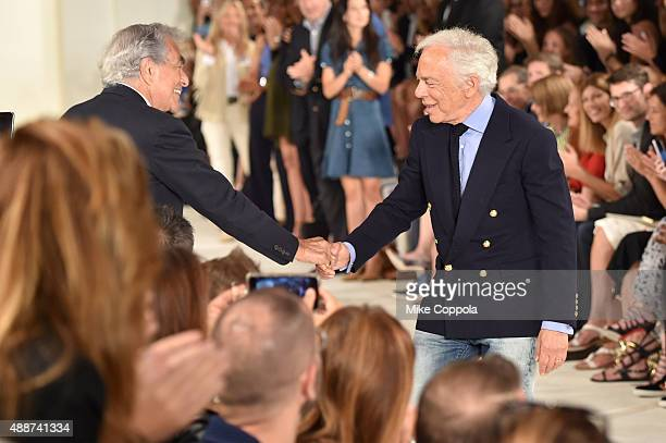 Designer Ralph Lauren poses on the runway at Ralph Lauren Spring 2016 during New York Fashion Week The Shows at Skylight Clarkson Sq on September 17...