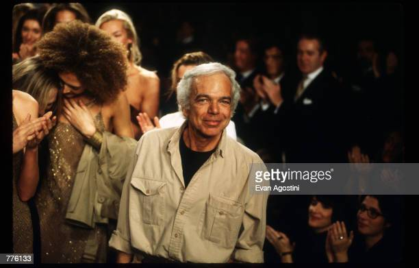 Designer Ralph Lauren stands on stage at the 7th on Sixth Fashion Show October 30, 1996 in New York City. Ralph Lauren became founder, designer and...
