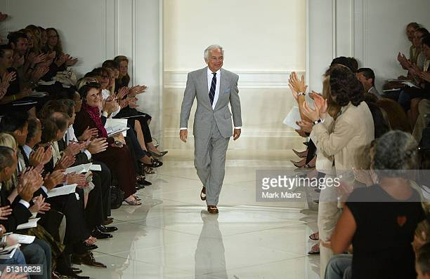 Designer Ralph Lauren walks down the runway at the Ralph Lauren Couture Spring 2005 fashion show during the Olympus Fashion Week Spring 2005...
