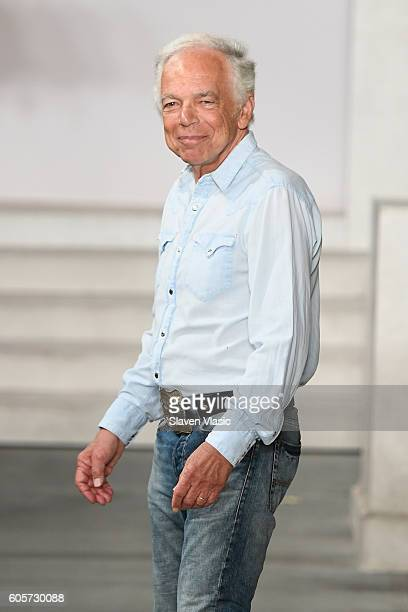 Designer Ralph Lauren walks his finale of the runway at the Ralph Lauren fashion show during New York Fashion Week: The Shows at Skylight Clarkson Sq...