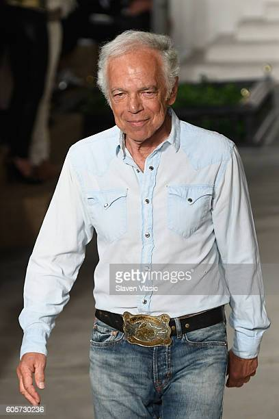 Designer Ralph Lauren walks in the finale of the runway at the Ralph Lauren fashion show during New York Fashion Week: The Shows at Skylight Clarkson...