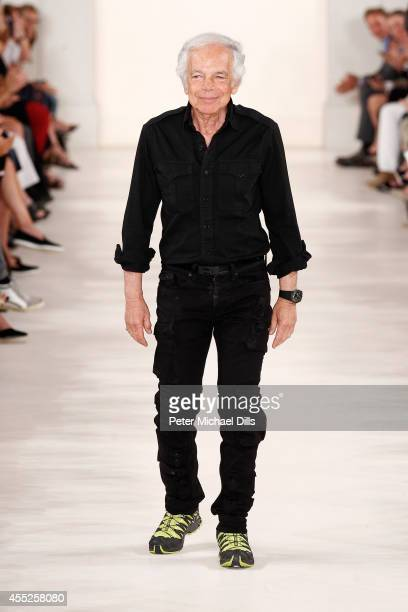 Designer Ralph Lauren walks the runway at the Ralph Lauren fashion show during Mercedes-Benz Fashion Week Spring 2015 at Skylight Clarkson SQ. On...