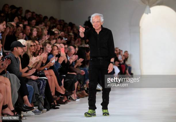 Designer Ralph Lauren walks the runway during the MercedesBenz Fashion Week Spring 2015 at The Pavilion of Lincoln Center in New York on September 10...