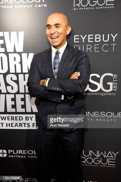 Designer Raul Penaranda backstage at New York Fashion Week Powered by Art Hearts Fashion NYFW February 2020 at The Angel Orensanz Foundation on...