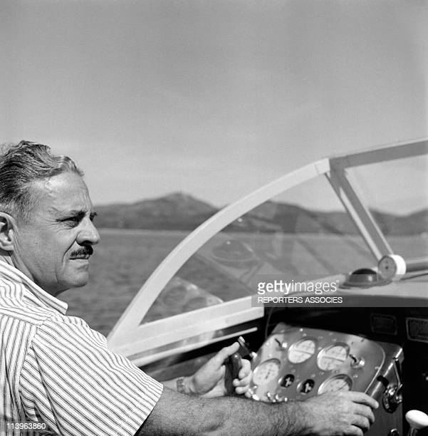 Designer Raymond Loewy on holiday in Southern France with wife Viola In Saint Tropez France In 1960Aboard his boat
