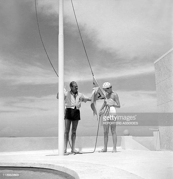 Designer Raymond Loewy on holiday in Southern France with wife Viola In Saint Tropez France In 1960Shopping in StTropez with young wife Viola 28