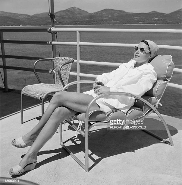 Designer Raymond Loewy on holiday in Southern France with wife Viola In Saint Tropez France In 1960Raymond Loewy's young wife Viola in their StTropez...