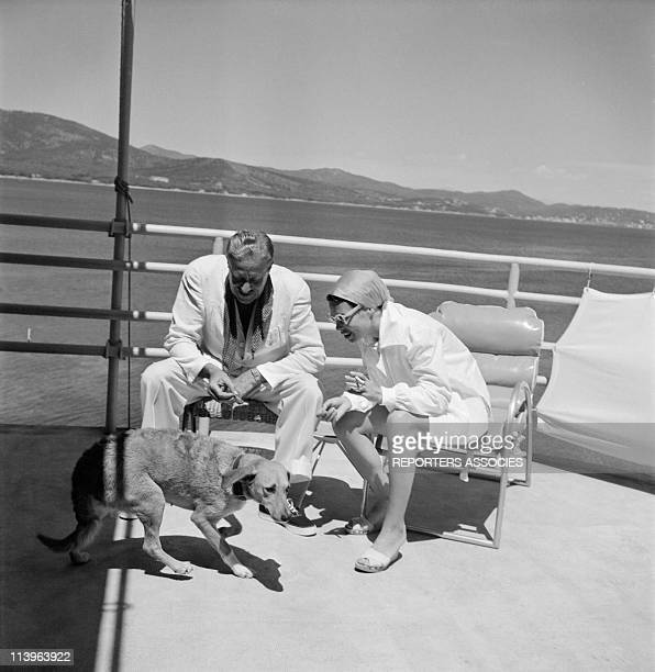Designer Raymond Loewy on holiday in Southern France with wife Viola In Saint Tropez France In 1960 Raymond Loewy in StTropez holiday estate with...