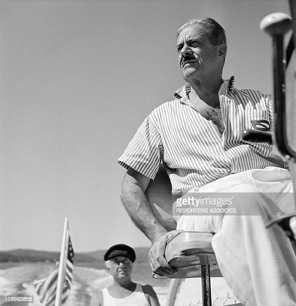Designer Raymond Loewy's holiday in Southern France with wife Viola In Saint Tropez France In 1960Aboard his boat
