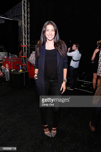 Designer Rebecca Minkoff poses backstage at the Rebecca Minkoff Fall 2013 fashion show during MercedesBenz Fashion Week at The Theatre at Lincoln...