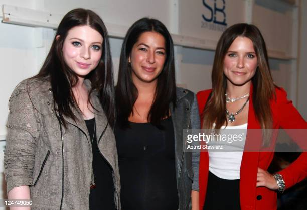 Designer Rebecca Minkoff poses with actresses Michelle Trachtenberg and Sophia Bush backstage with TRESemme at Rebecca Minkoff during Spring 2012...