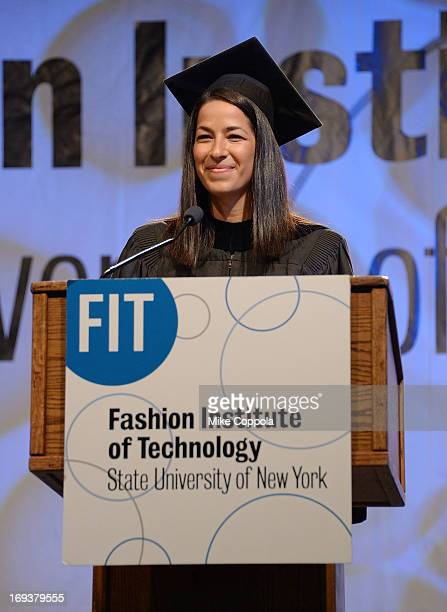 Designer Rebecca Minkoff speaks at the 2013 Fashion Institute Of Technology Commencement ceremony at Jacob Javits Center on May 23 2013 in New York...