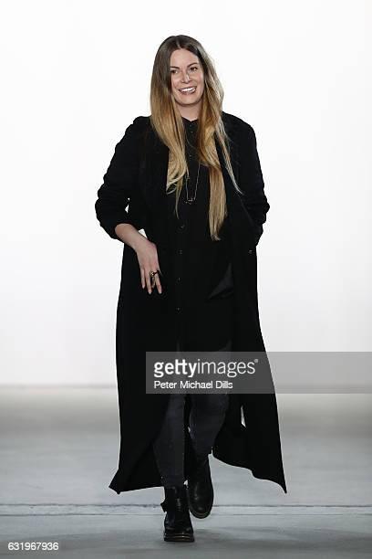Designer Rebekka Ruetz acknowledges the audience following her show during the MercedesBenz Fashion Week Berlin A/W 2017 at Kaufhaus Jandorf on...