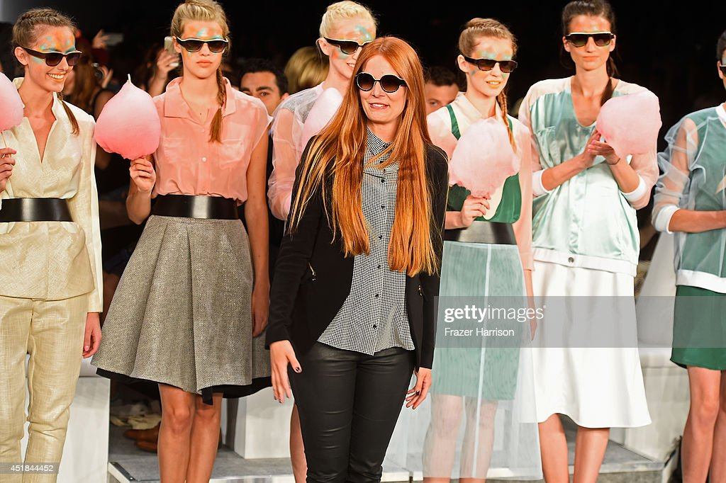 Designer Rebekka Ruetz and models at the Rebekka Ruetz show during the Mercedes-Benz Fashion Week Spring/Summer 2015 at Erika Hess Eisstadion on July 8, 2014 in Berlin, Germany.