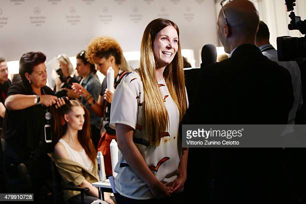 designer Rebekka Ruetz is seen backstage ahead of the Rebekka Ruetz show during the MercedesBenz Fashion Week Berlin Spring/Summer 2016 at...