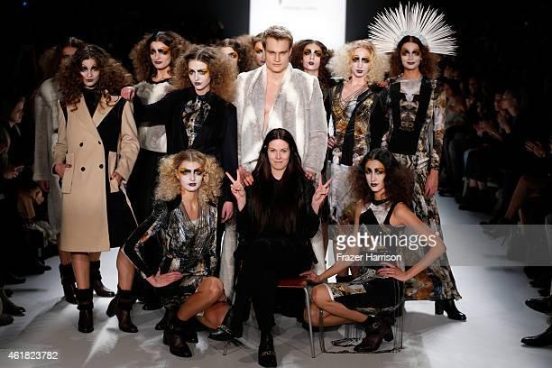Designer Rebekka Ruetz poses on the runway with models at the Rebekka Ruetz show during the MercedesBenz Fashion Week Berlin Autumn/Winter 2015/16 at...