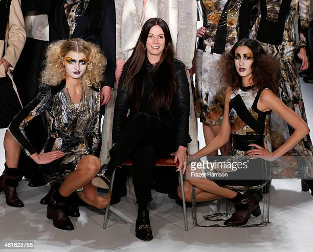 Designer Rebekka Ruetz poses on the runway with models at the Rebekka Ruetz show during the MercedesBenz Fashion Week Berlin Autumn/Winter 2015/16 at...