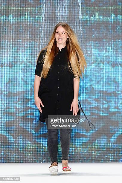 Designer Rebekka Ruetz walks the runway after her show during the MercedesBenz Fashion Week Berlin Spring/Summer 2017 at Erika Hess Eisstadion on...