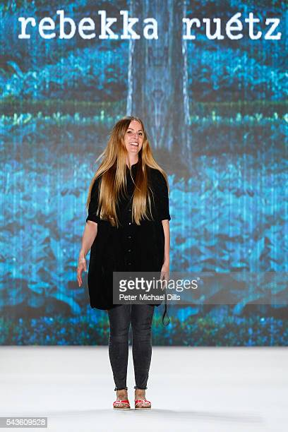 Designer Rebekka Ruetz walks the runway after her show during the MercedesBenz Fashion Week Berlin Spring/Summer 2017 at Erika Hess Eisstadion on...