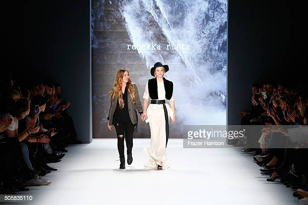 Designer Rebekka Ruetz walks with Larissa Marolt following her after the show during the MercedesBenz Fashion Week Berlin Autumn/Winter 2016 at...