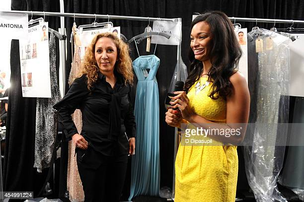 Designer Reem Acra backstage at the Reem Acra fashion show during MercedesBenz Fashion Week Spring 2015 at The Salon at Lincoln Center on September 8...