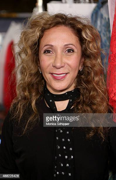 Designer Reem Acra poses backstage at Reem Acra Spring 2016 during New York Fashion Week The Shows at The Dock Skylight at Moynihan Station on...