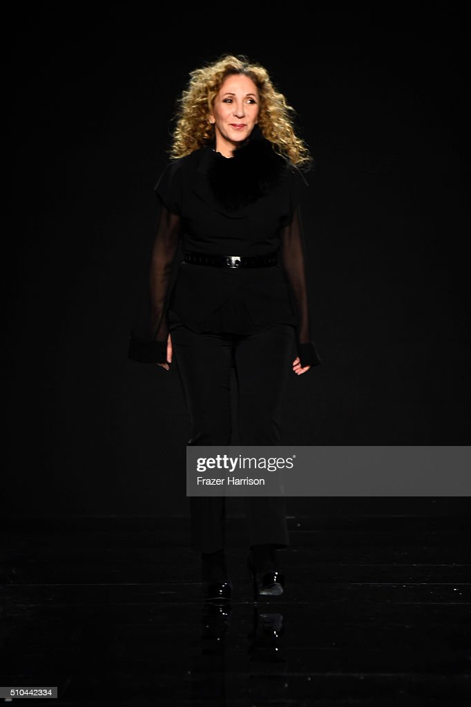 Designer Reem Acra walks the runway wearing Reem Acra Fall 2016 during New York Fashion Week: The Shows at The Dock, Skylight at Moynihan Station on February 15, 2016 in New York City.