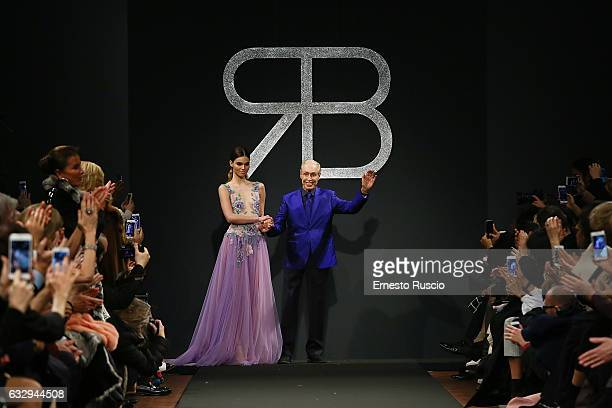 Designer Renato Balestra walks the runway at the Renato Balestra fashion show during AltaRoma January 2017 on January 28 2017 in Rome Italy