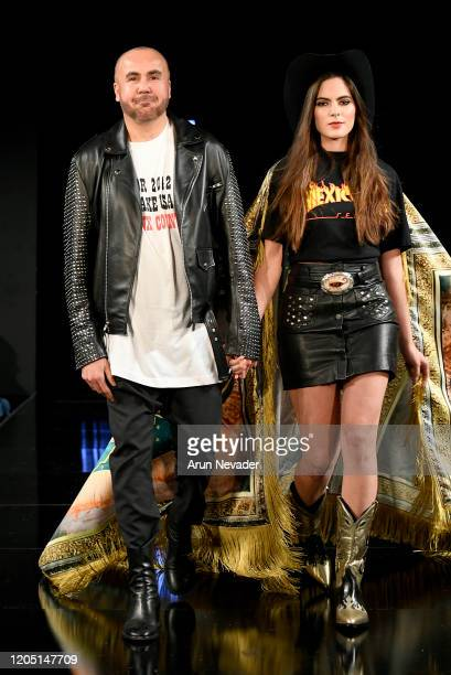 Designer Ricardo Seco and Sofia Aragon walk the runway during Ricardo Seco At New York Fashion Week Powered By Art Hearts Fashion NYFW 2020 at The...