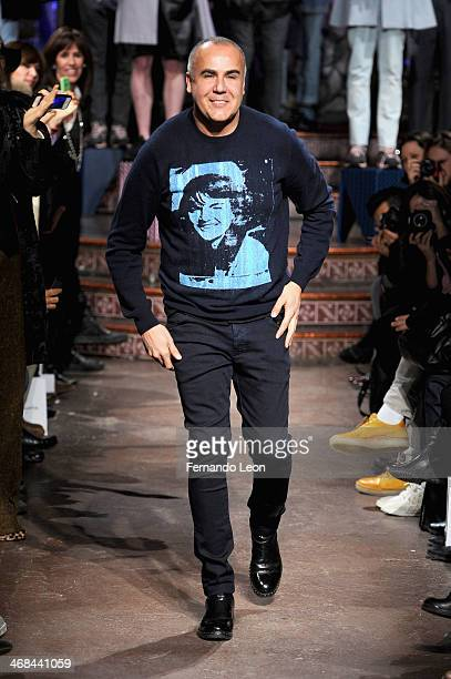 Designer Ricardo Seco walks the runway at the Ricardo Seco fashion show during MercedesBenz Fashion Week Fall 2014 at The Angel Orensanz Foundation...