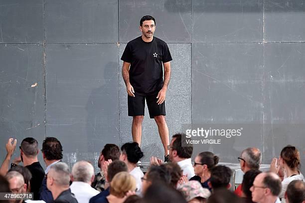 Designer Ricardo Tisci walks the runway during the Givenchy Menswear Spring/Summer 2016 show as part of Paris Fashion Week on June 26, 2015 in Paris,...