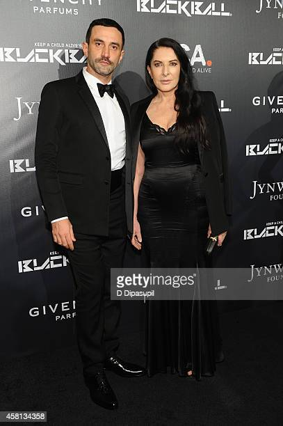 Designer Riccardo Tisci and Marina Abramovic attend Keep A Child Alive's 11th annual Black Ball at Hammerstein Ballroom on October 30 2014 in New...