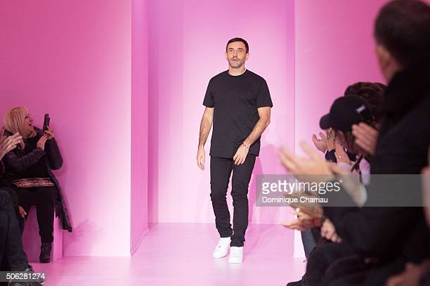 Designer Riccardo Tisci walks the runway during the Givenchy Menswear Fall/Winter 20162017 show as part of Paris Fashion Week on January 22 2016 in...