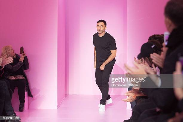 Designer Riccardo Tisci walks the runway during the Givenchy Menswear Fall/Winter 2016-2017 show as part of Paris Fashion Week on January 22, 2016 in...
