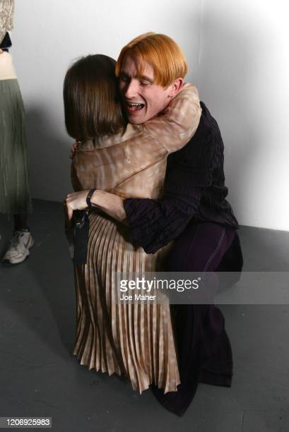 Designer Richard Malone and Sinead Burke backstage at the International Woolmark Prize 2020 during London Fashion Week February 2020 at Ambika P3 on...