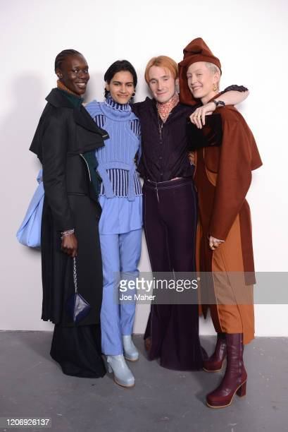 Designer Richard Malone backstage with models at the International Woolmark Prize 2020 during London Fashion Week February 2020 at Ambika P3 on...