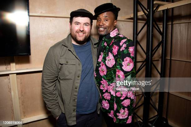 Designer Richard Quinn and Billy Porter backstage after Richard Quinn fashion show during London Fashion Week February 2020 on February 15, 2020 in...