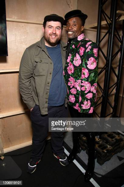 Designer Richard Quinn and Billy Porter backstage after Richard Quinn fashion show during London Fashion Week February 2020 on February 15 2020 in...