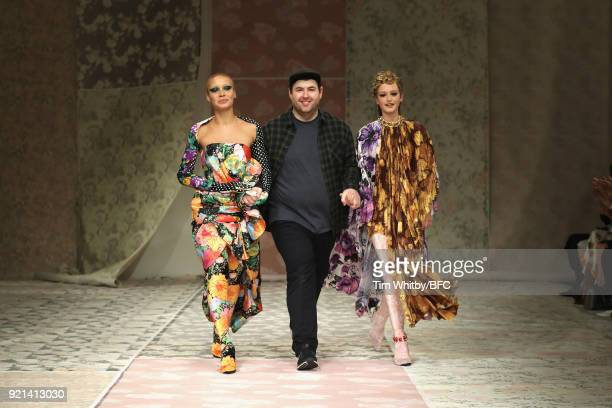 Designer Richard Quinn and models Adwoa Aboah and Jean Campbell are seen on the runway at the Richard Quinn show during London Fashion Week February...
