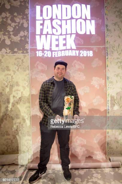 Designer Richard Quinn is awarded the inaugural Queen Elizabeth II award for British Design by Queen Elizabeth II during London Fashion Week February...