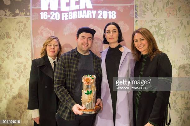Designer Richard Quinn winner of the inaugural Queen Elizabeth II award for British Design poses with BFC Ambassador for Emerging Talent Sarah Mower...