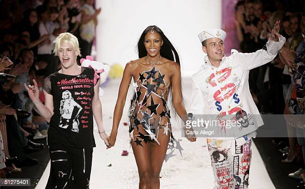 Designer Richie Rich and Traver Rains with model Naomi Campbell walk down the runway at the Heatherette show during Olympus Fashion Week Spring 2005...